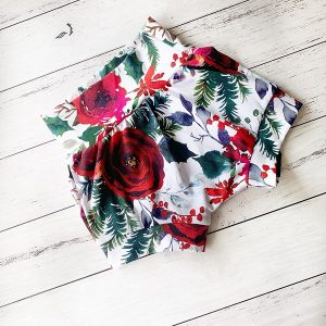Floral-christmas-baby-shorts