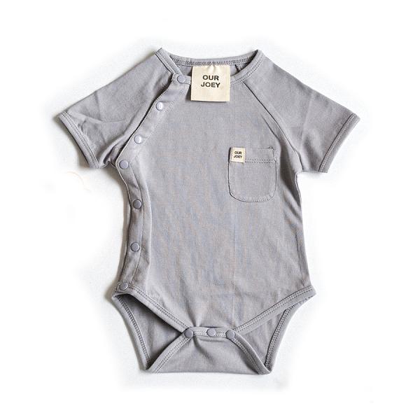Organic Short Sleeve Bodysuit Grey