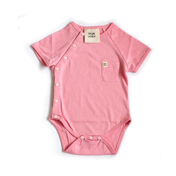 Organic Short Sleeve Bodysuit Pink