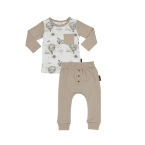 Vintage Map Raglan Tee & Taupe Pants Set