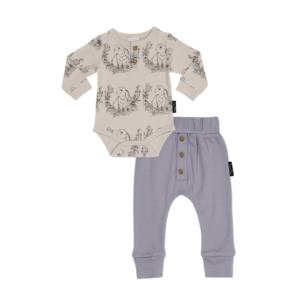 Bunny Henley Onesie & Lavender Pants Set