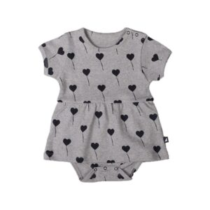 Grey Balloon Short-sleeve Frill Bodysuit