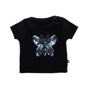 Black Butterfly Sequins Tee