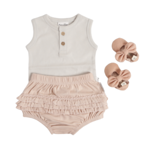 Silver Grey Onesie & Rose Bloomers Set