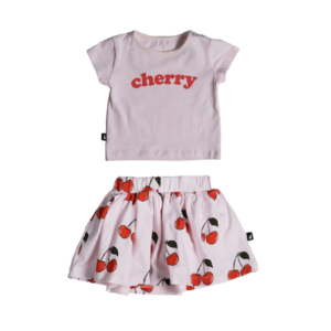 Cherry SS Tee & Skirt Set